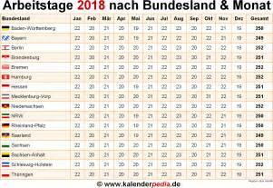 Kalender 2018 Nrw Arbeitstage Anzahl Arbeitstage 2018 In Deutschland Nach Bundesland Monat