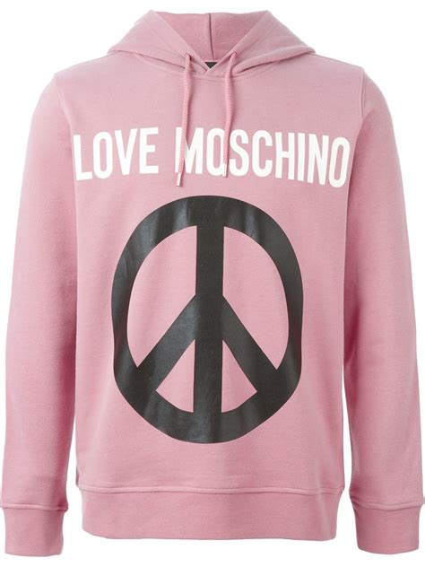 Rsby 494 Hodie Jacket Pink Print moschino peace sign print hoodie in pink for lyst