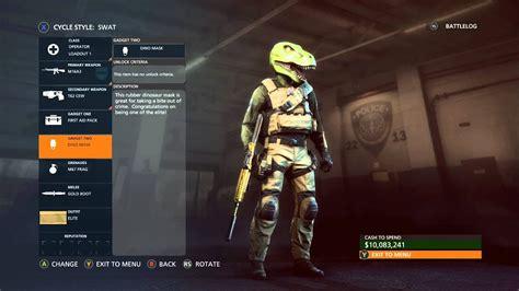 battlefield hardline dino mask wolf mask unlocked 10 mil