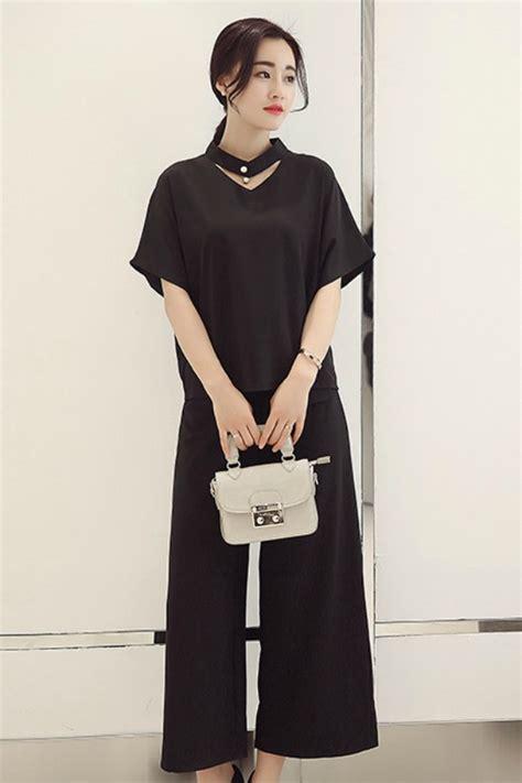 Celana Panjang Wanita Import Black Wide Legs Size S 308224 baju fashion korea 2pcs black set