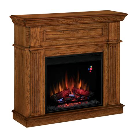 Fireplace Lowes by Shop Style Selections 41 In W 4 600 Btu Premium Oak Wood And Metal Wall Mount Electric Fireplace
