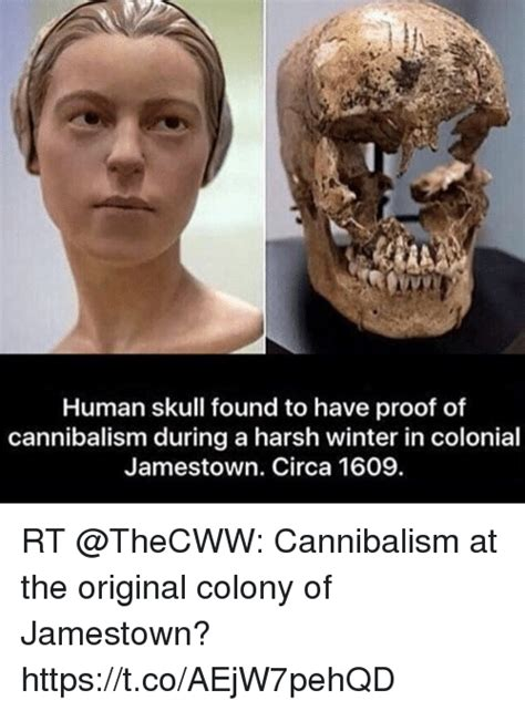 Circa Memes - human skull found to have proof of cannibalism during a harsh winter in colonial jamestown circa