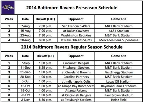 printable nfl team schedules 2014 printable nfl schedules 2014 baltimore ravens schedule