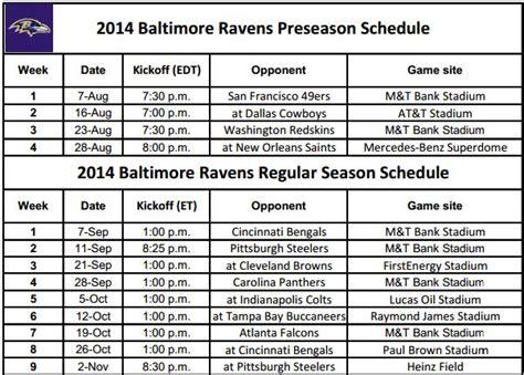 printable ravens schedule 2015 baltimore ravens 2015 schedule printable oloom