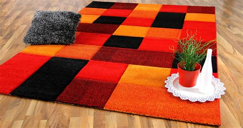 designer teppich brilliant rot orange karo teppiche - Teppiche Orange