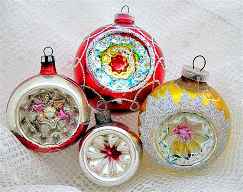 4 glass christmas vintage indent ornaments 1950 s by
