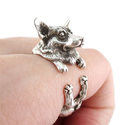 puppy ring realistic corgi puppy animal wrap ring in silver sizes 6 to 9 183 dotoly