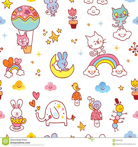 cute baby pattern stock vector image of horse collection baby animals seamless pattern stock vector image 92933555