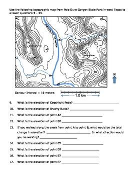 Earth Science Topographic Map Worksheet