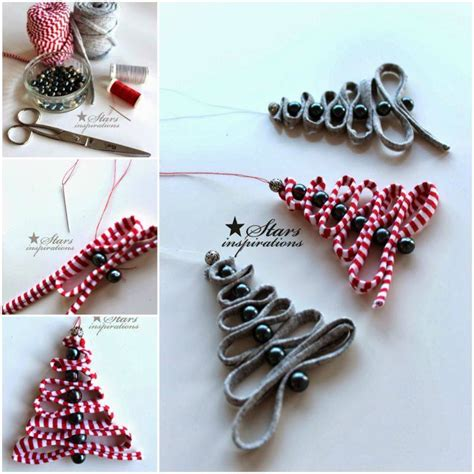 homemade christmas tree decorations wonderful diy ribbon beads christmas tree