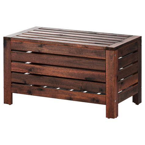 outdoor wooden bench with storage 196 pplar 214 storage bench outdoor brown stained 80x41 cm ikea