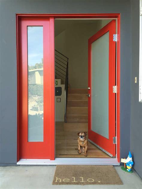 red front door  surprising door design  modern home