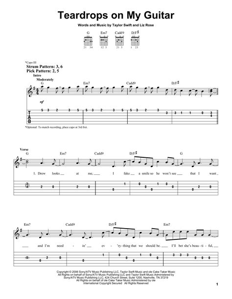 taylor swift chords teardrops on my guitar teardrops on my guitar sheet music by taylor swift easy