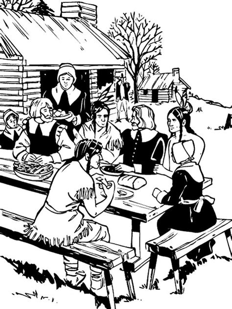 coloring page of thanksgiving feast thanksgiving feast coloring page coloring pages pinterest