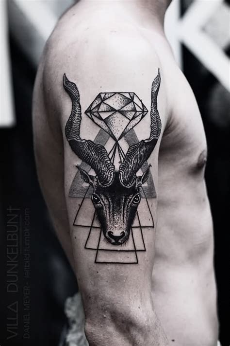 diamond tattoo on head goat head with diamond tattoo on man right half sleeve