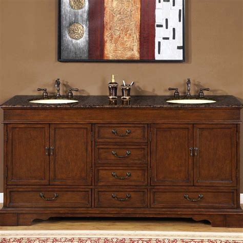 Bathroom Granite Vanity 72 Quot Revanna Granite Bathroom Sink Vanity Cabinet Chestnut Finish 0715