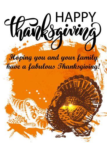 fashion turkey happy thanksgiving card birthday greeting cards  davia