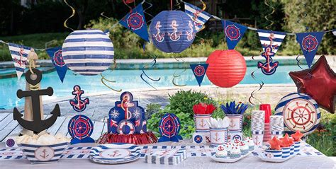 sailor themed decorations striped nautical theme city