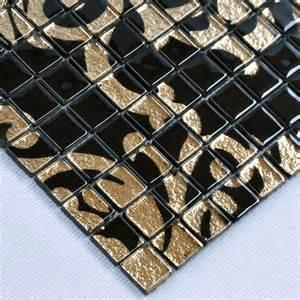 glass mosaic tile murals black and gold backsplash