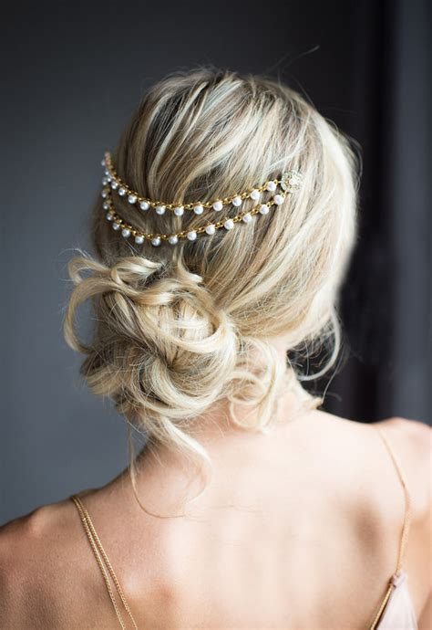 wedding hair comb with chains by britten weddings gold pearl bridal hair chain wedding hair wrap by