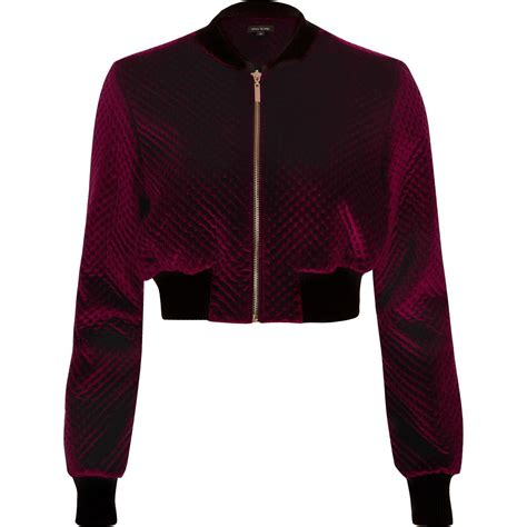River Island Leather Cropped Jacket by Lyst River Island Burgundy Velvet Cropped Bomber Jacket
