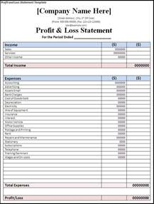 profit and loss statement excel template profit and loss statement template free formats excel word