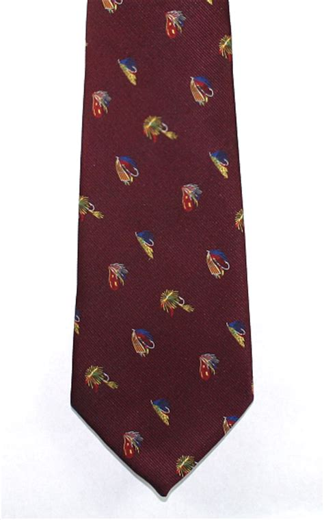 fishing flies neck tie maroon fly fishing ties