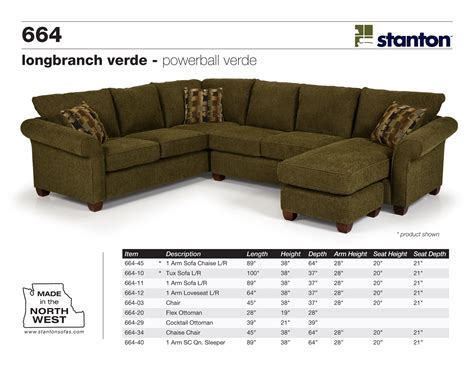 stanton furniture sectional stanton sofas 664 series sectional