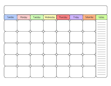 blank monthly planner template blank calendar templates sight word
