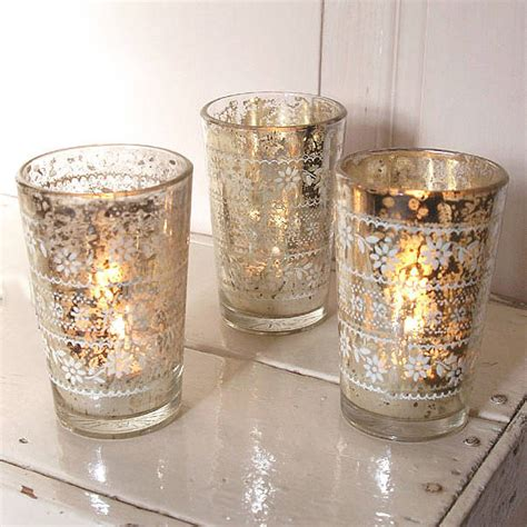 tealight holders silvered glass tealight holder by lilly