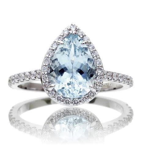 Aquamarine Rings by Pear Aquamarine Halo Engagement Ring