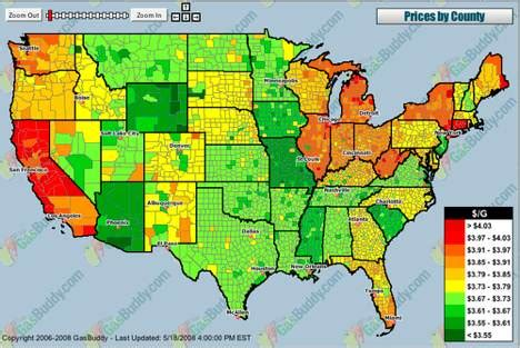 gas price map usa gas buddy s map shows how expensive your gas is treehugger