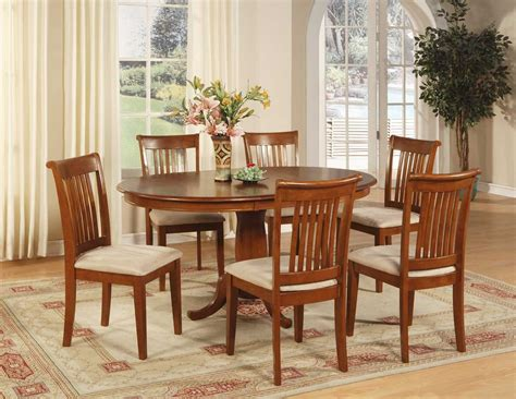 dining table sets 6 chairs 7 pc portland dinette oval dining table w 6 microfiber