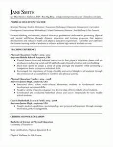 Education On A Resume Exle by Physical Education Resume