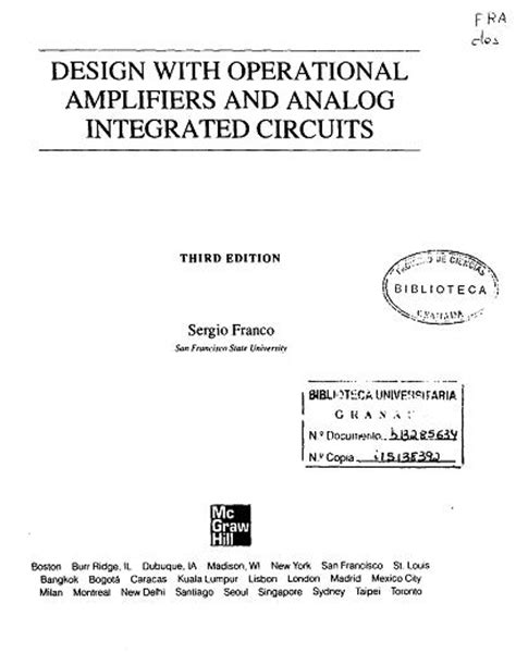 design with operational lifier and analog integrated circuits by sergio franco pdf cool stuff design with operational lifiers analog integrated circuits book