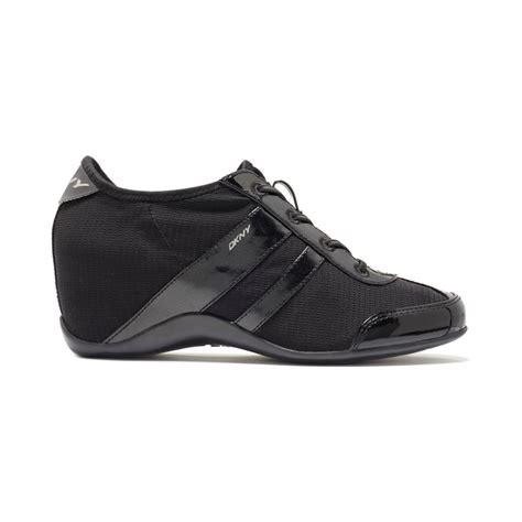 dkny wedge sneakers on sale dkny wedge sneakers in black lyst