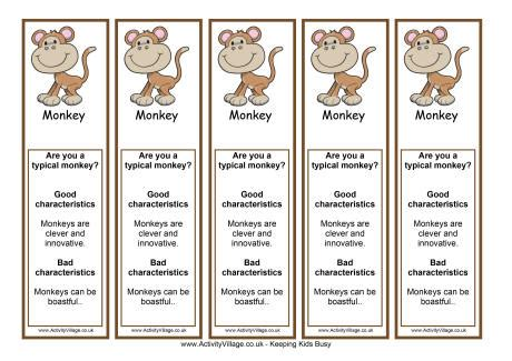 printable chinese new year bookmarks year of the monkey bookmark