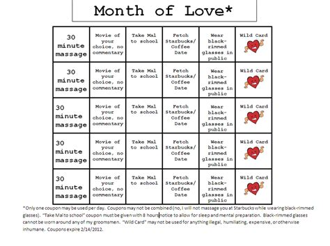 blank love coupons new calendar template site