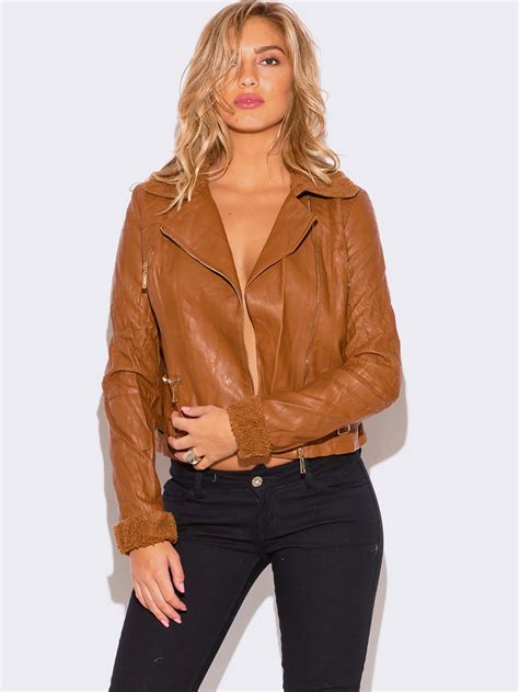 ladies brown biker brown faux leather biker jacket coat nj