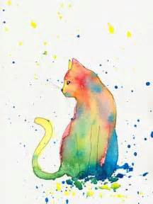 water color cat bright colourful cat print from watercolour painting