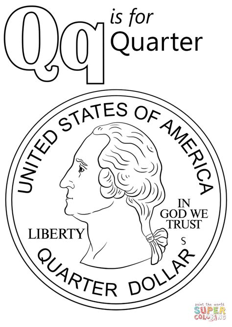 Coloring Page Quarter by Letter Q Is For Quarter Coloring Page Free Printable