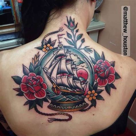 these bright snow globe tattoos 50 amazing ship tattoos you won t believe are real