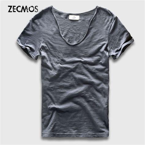 basic t shirt solid cotton v neck slim fit