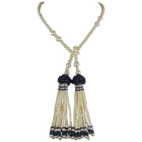 Anting Tassel Chain Pearl pearl sapphire tassel necklace for sale at 1stdibs