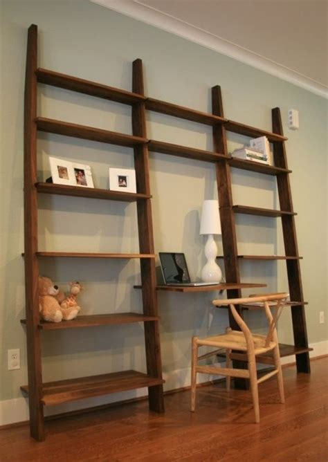 made leaning bookshelf with desk by kapel designs