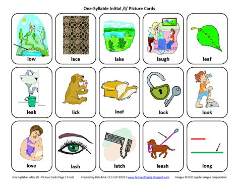 Word For L by Testy Yet Trying Initial L Free Speech Therapy Articulation Picture Cards