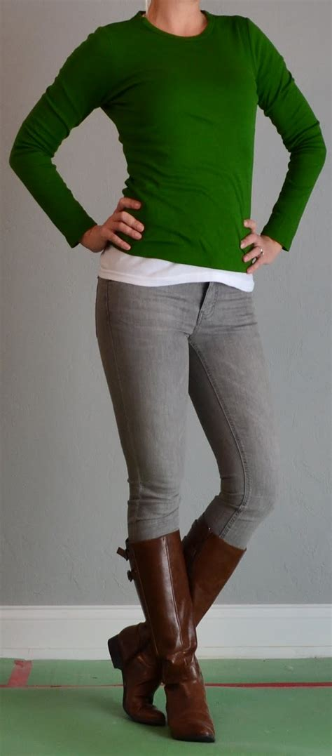 posts green shirt grey brown boots