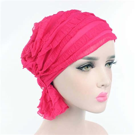 pink ruffle chemo scarf ready made elasticated cancer