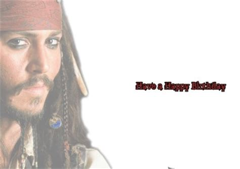 Johnny Birthday Card Personalised Jack Sparrow Johnny Depp Birthday Card