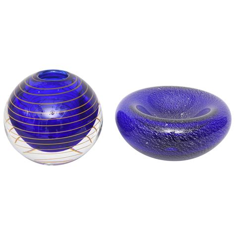 Blue Glass Vases And Bowls Blue And Gold Glass Vase And Murano Glass Bowl In